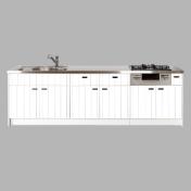 モノトーンで素材のシンプルさが映えるオリジナルキッチン