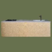 モルタル天板一体型の素材感を楽しむオリジナルキッチン
